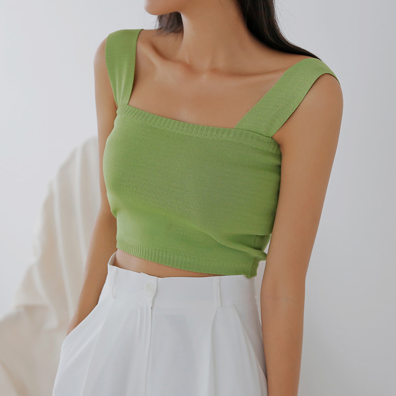 [무료배송]Pop crop knit sleeveless-모스빈