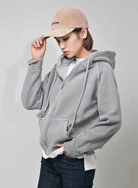 피그먼트 damage hood zip-up