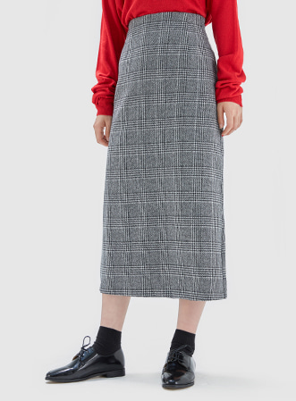 [무료배송] H-line check long skirt-모스빈