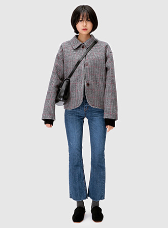[무료배송] Vintage check short coat-모스빈