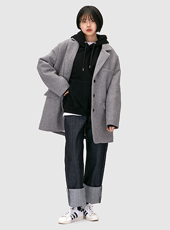 [무료배송] Herringbone padding coat-모스빈