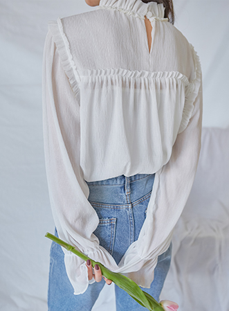 [무료배송] Frill see-through blouse-모스빈