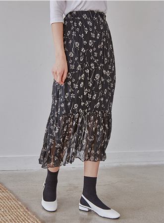[무료배송] See-through floral skirt-모스빈
