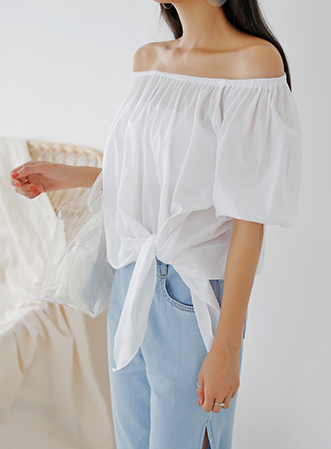 [무료배송]Tie off-shoulder blouse-모스빈